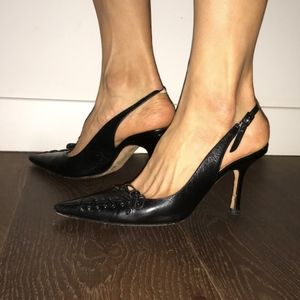 Jimmy Choo Black Heels w/ Corset Detail